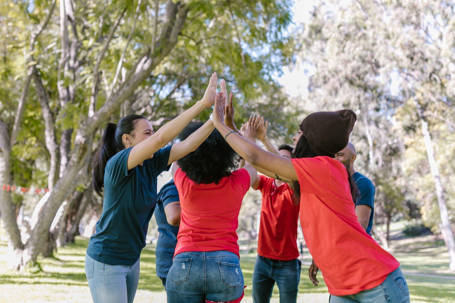 friends doing high five